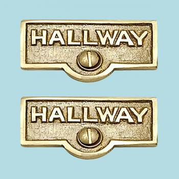 <PRE>2 Switch Plate Tags HALLWAY Name Signs Labels Solid Brass </PRE>zoom2