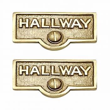 <PRE>2 Switch Plate Tags HALLWAY Name Signs Labels Solid Brass </PRE>zoom1