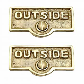 2 Switchplate Polished/Lacquered Brass OUTSIDE Switch Tag Brass 1 11/16