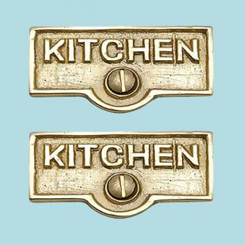 <PRE>2 Switch Plate Tags KITCHEN Name Signs Labels Solid Brass </PRE>zoom2