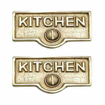 2 Switch Plate Tags KITCHEN Name Signs Labels Solid Brass