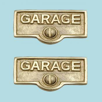 spec-<PRE>2 Switch Plate Tags GARAGE Name Signs Labels Lacquered  Brass </PRE>