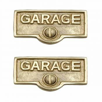 2 Switch Plate Tags GARAGE Name Signs Labels Lacquered  Brass Switch Plate Labels Switch Plate ID Labels Switch Plate Label