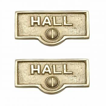 2 Switch Plate Tags HALL Name Signs Labels Lacquered  Brass