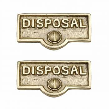 <PRE>2 Switch Plate Tags DISPOSAL Name Signs Labels Solid Brass </PRE>zoom1