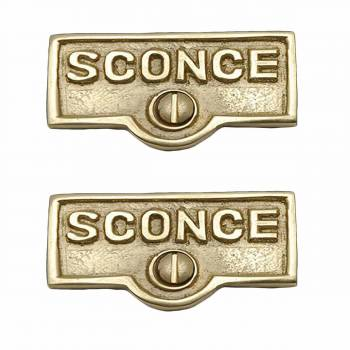 2 Switch Plate Tags SCONCE Name Signs Labels Lacquered Brass