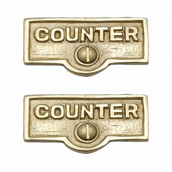 2 Switch Plate Tags COUNTER Name Signs Labels Lacquered Brass