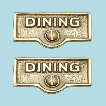 spec-<PRE>2 Switch Plate Tags DINING Name Signs Labels Lacquered Brass </PRE>