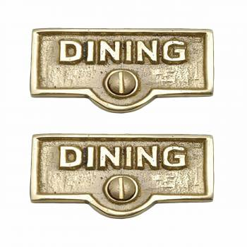 <PRE>2 Switch Plate Tags DINING Name Signs Labels Lacquered Brass </PRE>zoom1