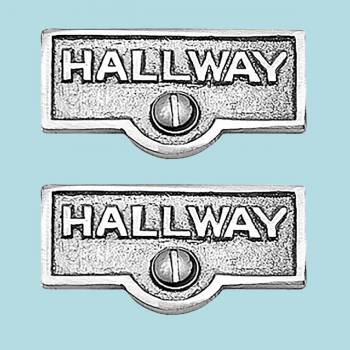 <PRE>2 Switch Plate Tags HALLWAY Name Signs Labels Chrome Brass </PRE>zoom2