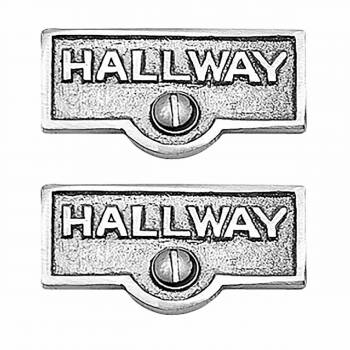 <PRE>2 Switch Plate Tags HALLWAY Name Signs Labels Chrome Brass </PRE>zoom1