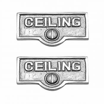 2 Switchplate Chrome Over Brass CEILING Switch Tag Chrome 1 11/16 in. W