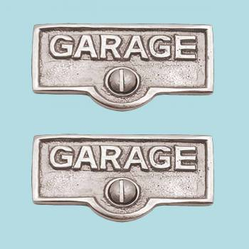 <PRE>2 Switch Plate Tags GARAGE Name Signs Labels Chrome Brass </PRE>zoom2