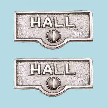 <PRE>2 Switch Plate Tags HALL Name Signs Labels Chrome Brass </PRE>zoom2