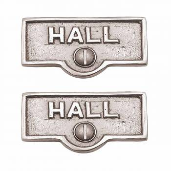 <PRE>2 Switch Plate Tags HALL Name Signs Labels Chrome Brass </PRE>zoom1