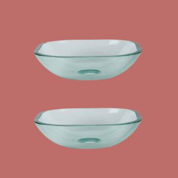 <PRE>Tempered Glass Vessel Sink with Drain, Clear Square Mini Bowl Sink Set of 2 </PRE>zoom2