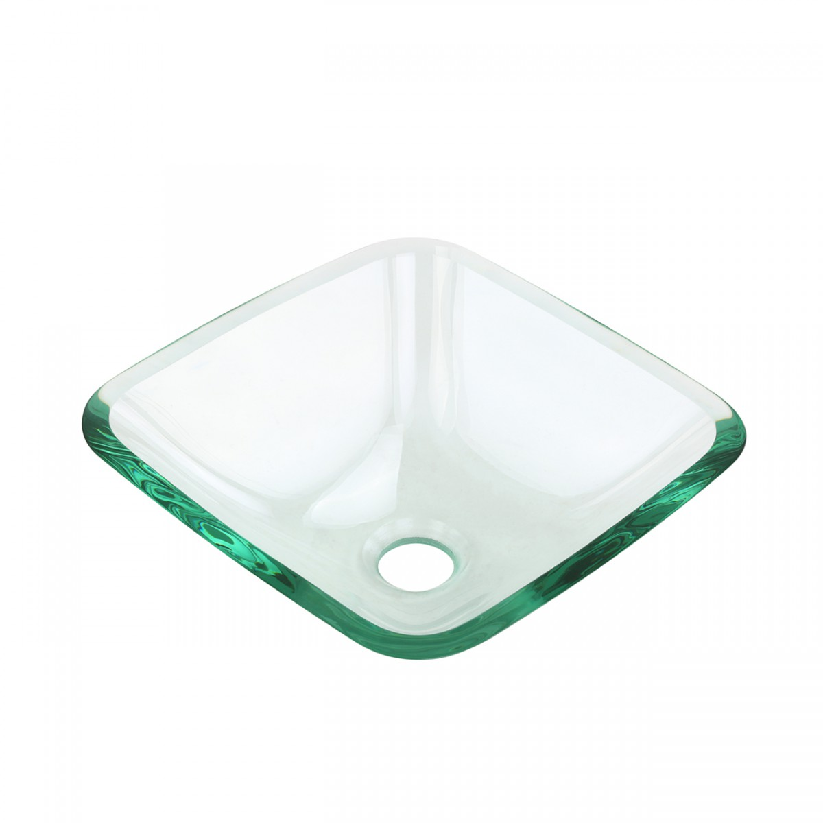 Tempered Glass Vessel Sink with Drain, Clear Square Mini Bowl Sink Set of 2 bathroom vessel sinks Countertop vessel sink MR Direct 852 Alternative vintage luxury