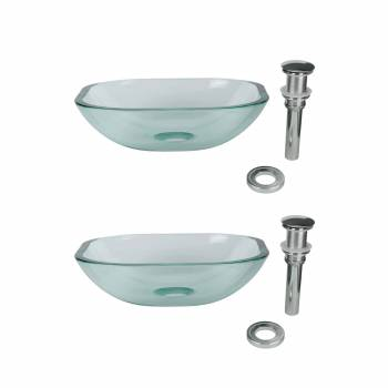 Tempered Glass Vessel Sink with Drain, Clear Square Mini Bowl Sink Set of 2