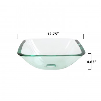 spec-<PRE>Tempered Glass Vessel Sink with Drain, Clear Square Mini Bowl Set of 2</PRE>