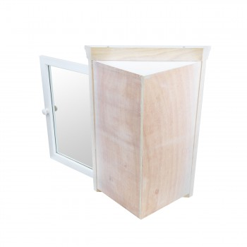 <PRE>Corner Medicine Cabinet White Hardwood Wall Mount Recessed Mirror Set of 2</PRE>zoom4