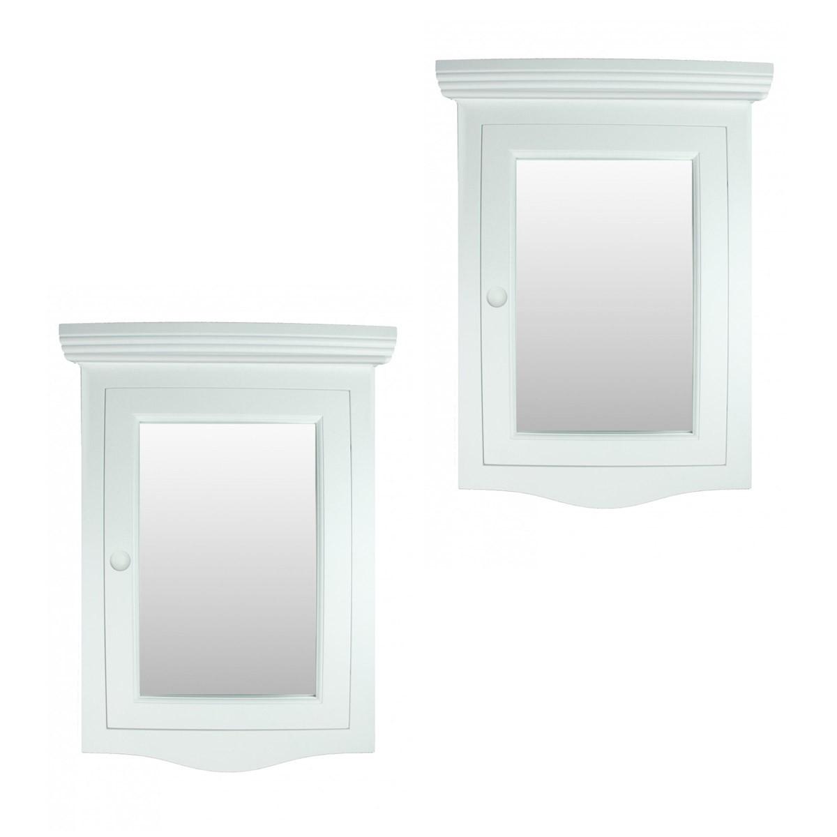 ... U003cPREu003eCorner Medicine Cabinet White Hardwood Wall Mount Recessed Mirror  Set Of 2u003c ...