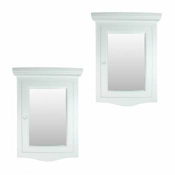 Corner Medicine Cabinet White Hardwood Wall Mount Set of 2
