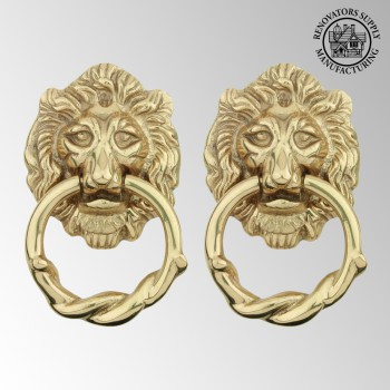 Door Knocker Lion Cast Brass 6 14 H x 3 58 W Pack of 2 Brass Door Knocker Solid Brass Door Knocker Solid Brass Door Knockers
