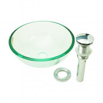 Tempered Glass Vessel Sink with Drain, Clear Mini Bowl Sink Set of 2 bathroom vessel sinks Countertop vessel sink MR Direct 852 Alternative vintage luxury