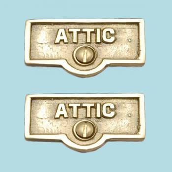 <PRE>2 Switch Plate Tags ATTIC Name Signs Labels Lacquered Brass </PRE>zoom2