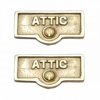 <PRE>2 Switch Plate Tags ATTIC Name Signs Labels Lacquered Brass </PRE>zoom1