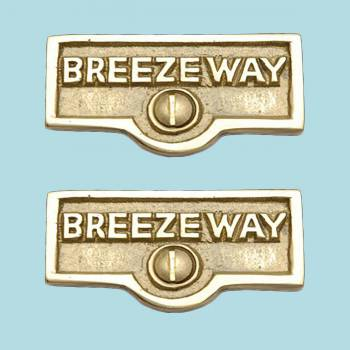 <PRE>2 Switch Plate Tags BREEZEWAY Name Signs Labels Solid Brass </PRE>zoom2