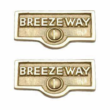 <PRE>2 Switch Plate Tags BREEZEWAY Name Signs Labels Solid Brass </PRE>zoom1