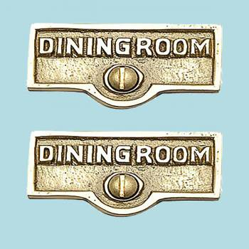 <PRE>2 Switch Plate Tags DINGING ROOM Name Signs Labels Brass </PRE>zoom2