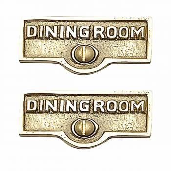 <PRE>2 Switch Plate Tags DINGING ROOM Name Signs Labels Brass </PRE>zoom1