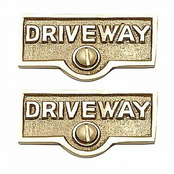 2 Switch Plate Tags DRIVEWAY Name Signs Labels Brass Switch Plate Labels Switch Plate ID Labels Switch Plate Label