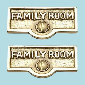 <PRE>2 Switch Plate Tags FAMILY ROOM Name Signs Labels Brass </PRE>zoom2