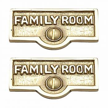 <PRE>2 Switch Plate Tags FAMILY ROOM Name Signs Labels Brass </PRE>zoom1
