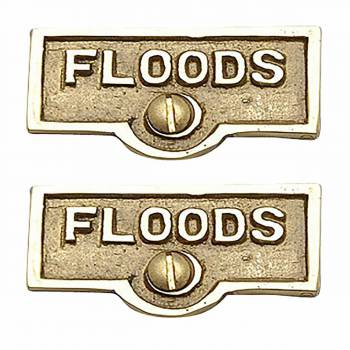 2 Switch Plate Tags FLOODS Name Signs Labels Lacquered Brass Switch Plate Labels Switch Plate ID Labels Switch Plate Label