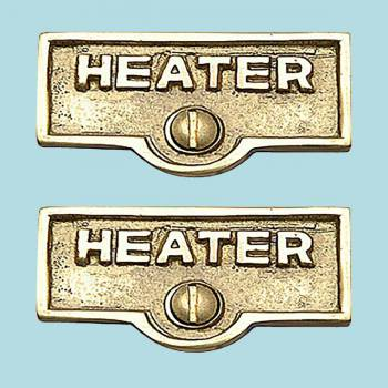 2 Switch Plate Tags HEATER Name Signs Labels Lacquered Brass Switch Plate Labels Switch Plate ID Labels Switch Plate Label