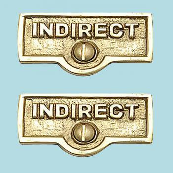 <PRE>2 Switch Plate Tags INDIRECT Name Signs Labels Brass </PRE>zoom2