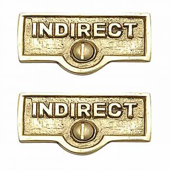 <PRE>2 Switch Plate Tags INDIRECT Name Signs Labels Brass </PRE>zoom1
