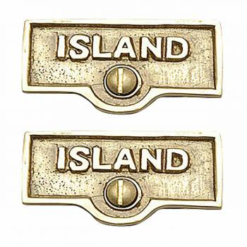 2 Switch Plate Tags ISLAND Name Signs Labels Lacquered Brass Switch Plate Labels Switch Plate ID Labels Switch Plate Label