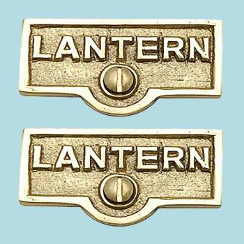 <PRE>2 Switch Plate Tags LANTERN Name Signs Labels Lacquered Brass </PRE>zoom2