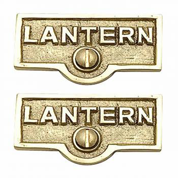 2 Switch Plate Tags LANTERN Name Signs Labels Lacquered Brass Switch Plate Labels Switch Plate ID Labels Switch Plate Label