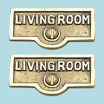 <PRE>2 Switch Plate Tags LIVING ROOM Name Signs Labels  Brass </PRE>zoom2