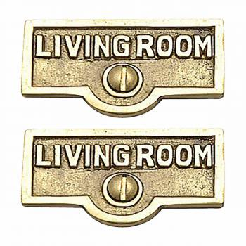 <PRE>2 Switch Plate Tags LIVING ROOM Name Signs Labels  Brass </PRE>zoom1
