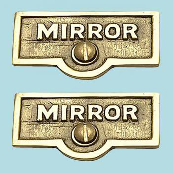 <PRE>2 Switch Plate Tags MIRROR Name Signs Labels Lacquered Brass </PRE>zoom2