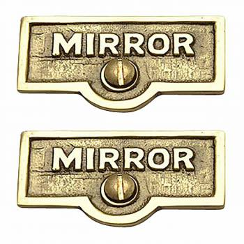 <PRE>2 Switch Plate Tags MIRROR Name Signs Labels Lacquered Brass </PRE>zoom1