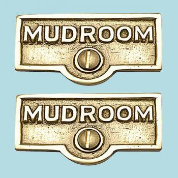 2 Switch Plate Tags MUDROOM Name Signs Labels Lacquered Brass Switch Plate Labels Switch Plate ID Labels Switch Plate Label
