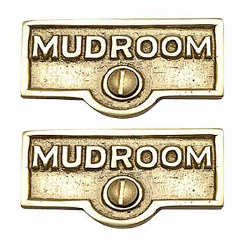 2 Switch Plate Tags MUDROOM Name Signs Labels Lacquered Brass